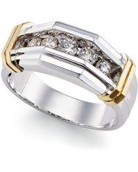 Macy's Men's Diamond Ring (1/2 Ct. T.w.) In 10k Gold And White Gold - Metallic