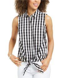 Charter Club Gingham-print Tie-hem Shirt, Created For Macy's - Black