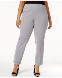 Anne Klein - Plus Size Striped Seersucker Trousers - Lyst