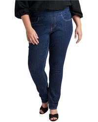 Jag Plus Size Nora Mid Rise Skinny Pull-on Jeans - Blue
