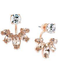 Marchesa - Gold-tone Clear & Rose Crystal Jacket Earrings - Lyst