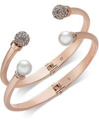 Charter Club 2-pc. Set Pavé Bead & Imitation Pearl Cuff Bracelets, Created For Macy's - Pink