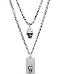 Steve Madden Skull And Dog Tag Duo Necklace Set In Stainless Steel - Metallic