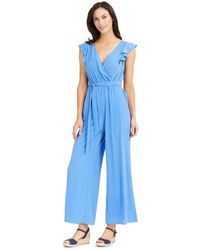 Charter Club Flutter-sleeve Cropped Jumpsuit, Created For Macy's - Blue