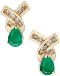 Macy's - Emerald (3/4 Ct. T.w.) And Diamond (1/4 Ct. T.w.) Stud Earrings In 14k Gold - Lyst