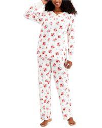 Charter Club Thermal Fleece Printed Pajama Set, Created For Macy's - Multicolor