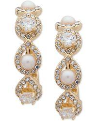 Anne Klein - Gold-tone Crystal & Imitation Pearl E-z Comfort Clip-on Hoop Earrings - Lyst