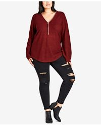 City Chic - Trendy Plus Size Zipper-neck High-low Sweater - Lyst