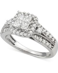 Macy's - Diamond Quad Halo Engagement Ring (1 Ct. T.w.) In 14k White Gold - Lyst