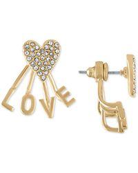 RACHEL Rachel Roy - Gold-tone Pavé Heart Love Front-and-back Earrings - Lyst