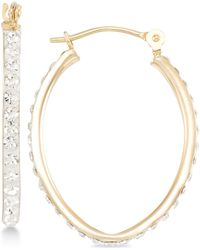 Macy's - Crystal Pavé Tapered Hoop Earring In 10k Gold - Lyst