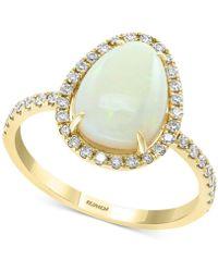Effy Collection Effy® Opal (1-3/4 Ct. T.w.) & Diamond (1/3 Ct. T.w.) Ring In 14k Gold - Metallic