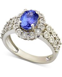 Macy's - Sapphire (1-1/4 Ct. T.w.) And Diamond (1/4 Ct. T.w.) Ring In 14k White Gold (also Available In Tanzanite) - Lyst