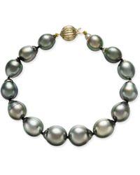 Macy's - Tahitian Pearl Bracelet In 14k Gold (10mm) - Lyst