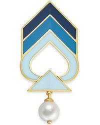 Kate Spade Gold-tone Imitation Pearl Enamel Chevron Pin - Blue