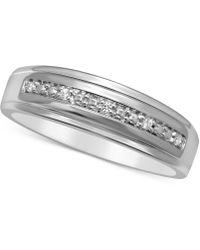 Macy's Men's Diamond Accent Wedding Band In 14k White Gold