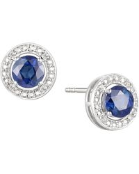 Macy's Sapphire (5/8 Ct. T.w.) & Diamond Accent Stud Earrings In Sterling Silver (also Available In Emerald And Certified Ruby) - Multicolor