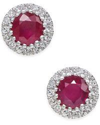 Macy's - Certified Ruby (5/8 Ct. T.w.) And Diamond (1/10 Ct. T.w.) Stud Earrings In 14k White Gold - Lyst