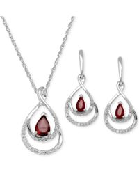 Macy's - Ruby ( 1-1/8ct. T.w.) And Diamond Accent Pendant And Earring Set In Sterling Silver - Lyst