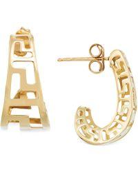 Macy's - Greek Key J-hoop Earrings In 14k Gold - Lyst