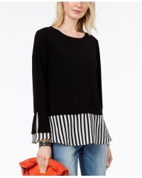 INC International Concepts - Striped-contrast Layered-look Top, Created For Macy's - Lyst