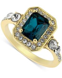 Charter Club Gold-tone Pavé & Square Crystal Statement Ring, Created For Macy's - Blue