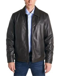 Perry Ellis Classic Leather Jacket - Brown