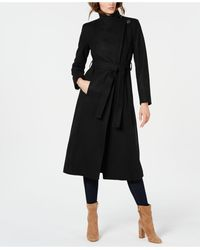 Kenneth Cole Asymmetrical Belted Maxi Coat - Black