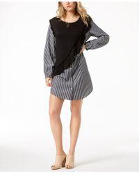 Kensie | Knit Ruffle Striped Shirtdress | Lyst