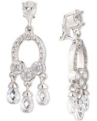 Carolee - Silver-tone Cubic Zirconia Clip-on Chandelier Earrings - Lyst