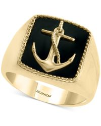 Effy Collection - Onyx (15 X 13mm) Anchor Ring In 14k Gold - Lyst