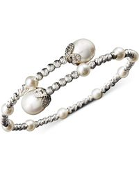 Macy's Pearl Bracelet, Sterling Silver Cultured Freshwater Pearl (4-1/2mm And 8-1/2mm) Sparkle Bead Cuff Bracelet - Metallic