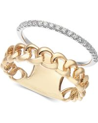Macy's - Diamond Two-tone Chain Link Statement Ring (1/5 Ct. T.w.) In 14k Gold & White Gold - Lyst