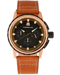 Morphic - M61 Series Chronograph Leather-band Watch W/date - Rose Gold/tan - Lyst