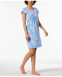 Miss Elaine - Rose-print Picot-trim Nightgown - Lyst