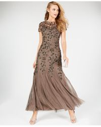Adrianna Papell Embellished Floral-print Gown - Brown