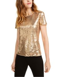 Maison Jules Short-sleeve Sequined Top, Created For Macy's - Metallic