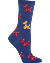 Hot Sox Balloon Dogs Crew Socks - Blue