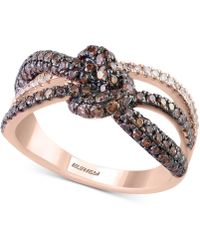 Effy Collection - Diamond Love Knot Ring (1-1/10 Ct. T.w.) In 14k Rose Gold - Lyst
