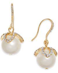 Charter Club - Gold-tone Imitation Pearl & Pavé Drop Earrings - Lyst