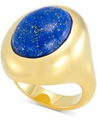 Signature Gold Lapis Lazuli Statement Ring In 14k Gold Over Resin, Created For Macy's - Metallic