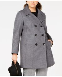 Anne Klein Plus Size Double-breasted Peacoat, Created For Macy's - Gray
