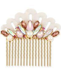 Betsey Johnson Gold-tone Crystal & Imitation Pearl Seashell Hair Comb - Natural