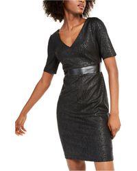 INC International Concepts Inc Animal-print & Faux-leather Sheath Dress, Created For Macy's - Black