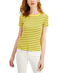 Style & Co. Striped T-shirt, Created For Macy's - Yellow