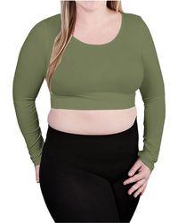 Skinnytees Plus Long Sleeve Crop Top - Green