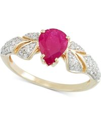 Rare Featuring Gemfields - Certified Ruby (7/8 Ct. T.w.) And Diamond (1/3 Ct. T.w.) Ring In 14k Gold - Lyst