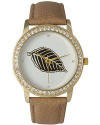 Olivia Pratt Rhinestone Bezel And Leaf Leather Strap Watch - Natural