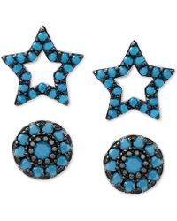 Macy's - 2-pc. Set Manufactured Turquoise Star And Oval Stud Earrings In Sterling Silver - Lyst