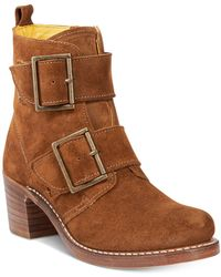 Frye - Sabrina Double Buckle Moto Booties - Lyst